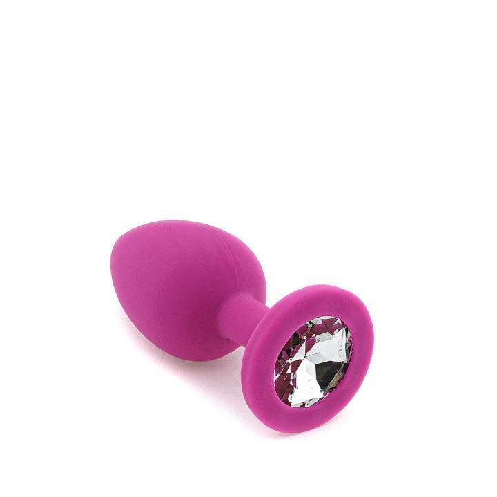 Fioletowy silikonowy korek analny z kryształem – 3 cm