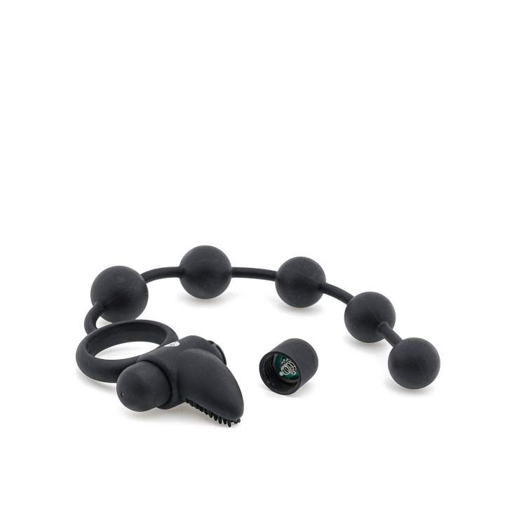 Czarny pierścień erekcyjny 3w1 z wypustkami i kulkami