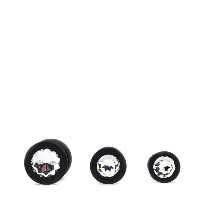 Zestaw trzech czarnych silikonowych korków analnych z kryształami – 2,7-4 cm