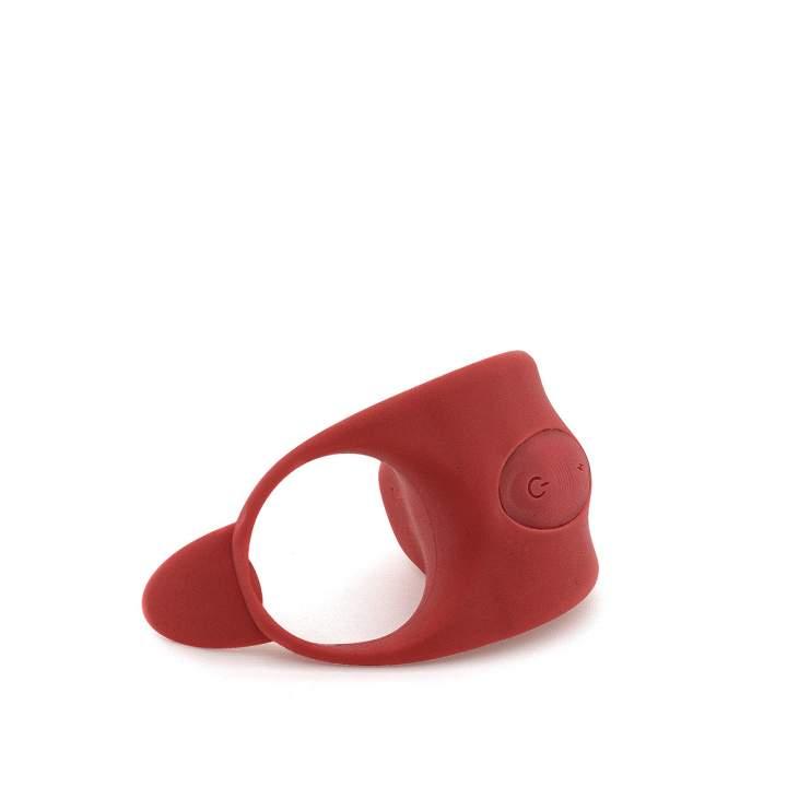 Czerwony pierścień wibracyjny połączony z funkcją elektrostymulacji
