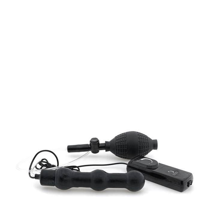 Czarny pompowany korek analny z wibracjami