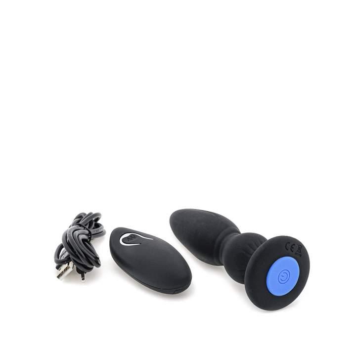 Czarny wibrujący korek analny z 12 trybami pracy na USB