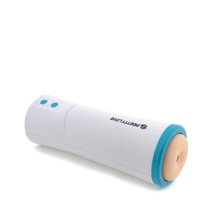Biały silikonowy masturbator z otworem analnym – 3 funkcje wibracji