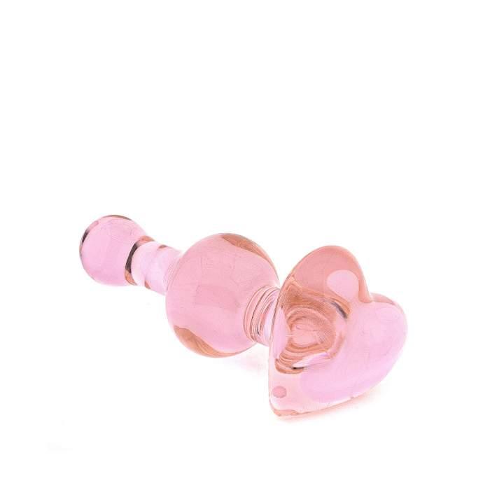 Różowy szklany korek analny Icicles No. 75 z końcówką w kształcie serca