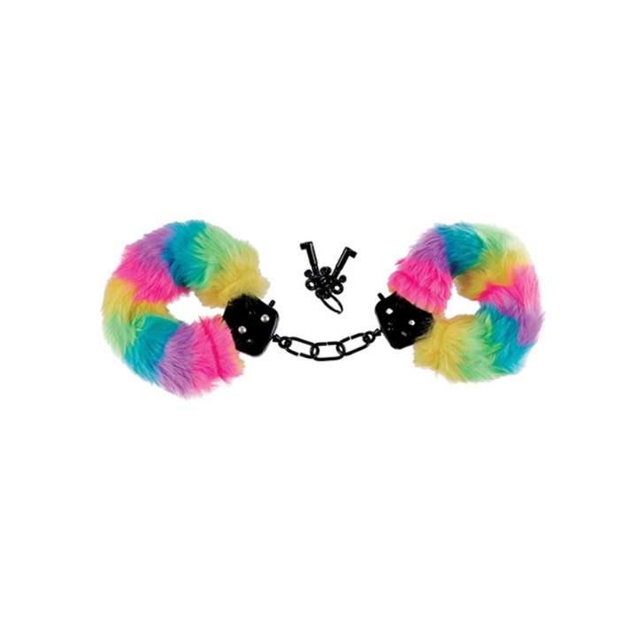 Kolorowe pluszowe kajdanki w zestawie z maską