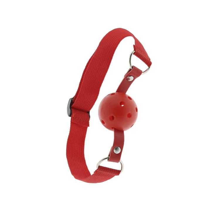 Czerwony knebel z otworami wentylacyjnymi do ust