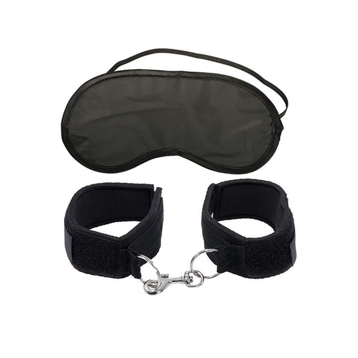 Zestaw czarnych kajdanek z elastyczną maską na oczy