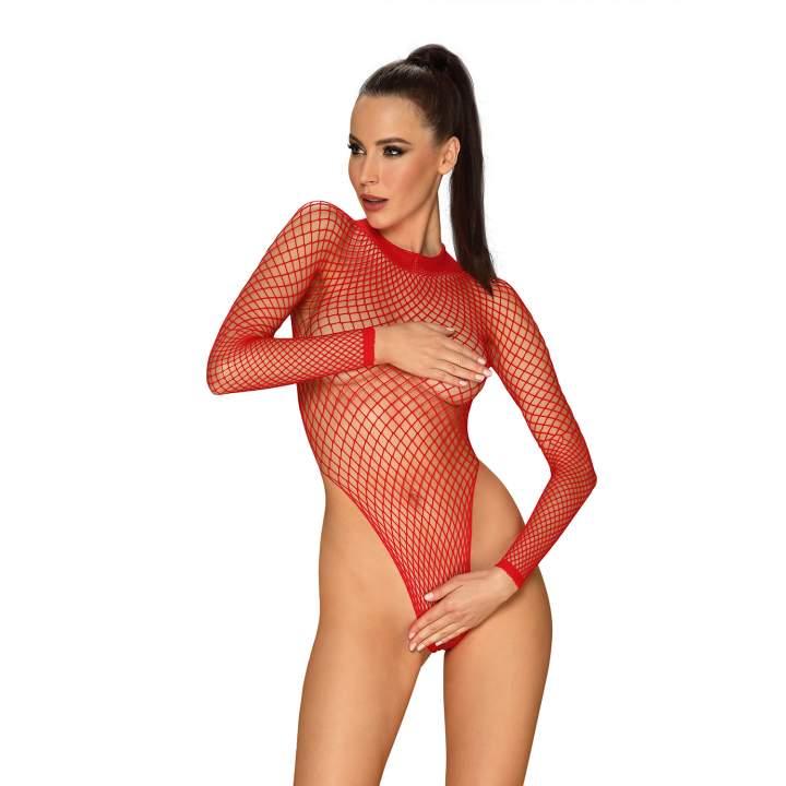 Erotyczne body Obsessive B126 z czerwonej siateczki