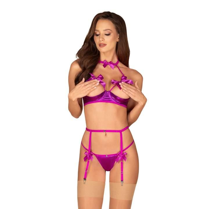 Trzyczęściowy fioletowy komplet Obsessive Delishya