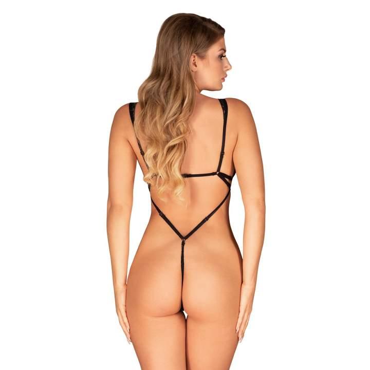 Koronkowe czarne body Obsessive Figurea
