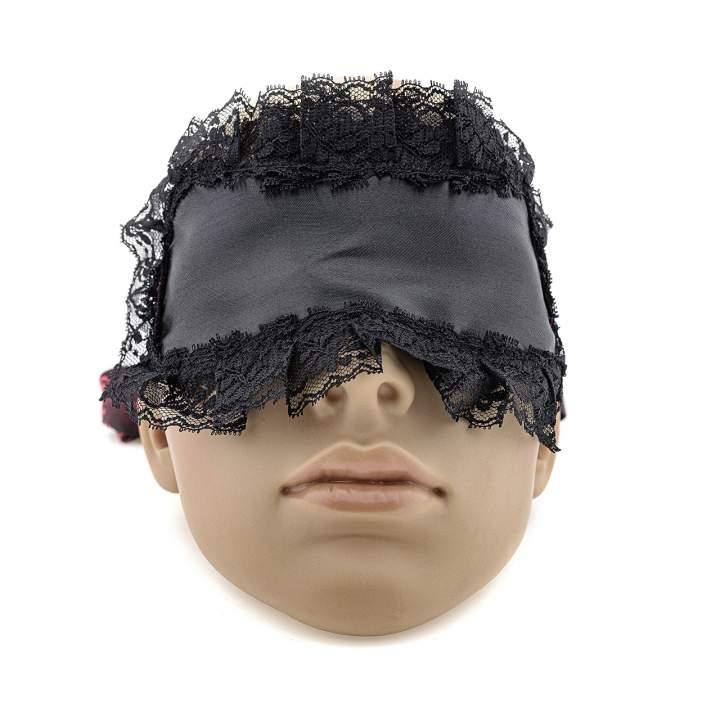Czarna zmysłowa opaska na oczy z koronką i regulowaną wstążką