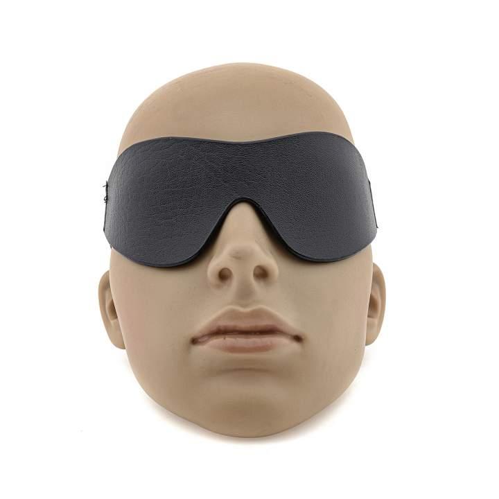 Czarna opaska na oczy z imitacji skóry