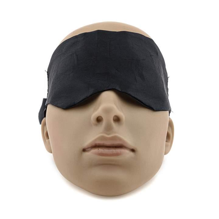 Czarna materiałowa opaska na oczy wiązana