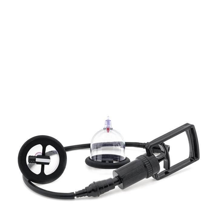Przezroczysta manualna pompka do sutków z miejscem na wibrator typu bullet