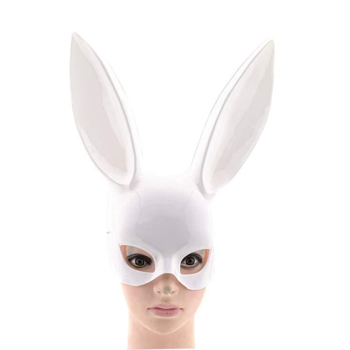 Biała maska na twarz króliczek z długimi uszami