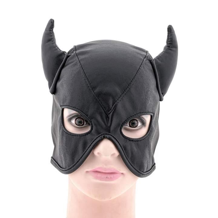Czarna skórzana maska diabła z rogami dla mężczyzn – wiązanie z tyłu