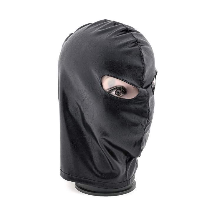 Czarna maska z otworami na oczy i gorsetowym wiązaniem