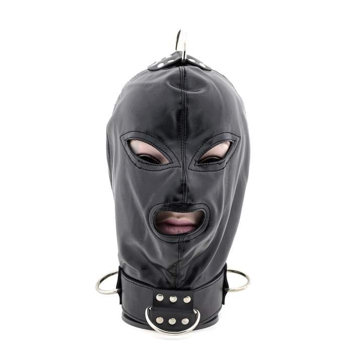Czarna maska niewoli z kołnierzem i z metalowymi ringami