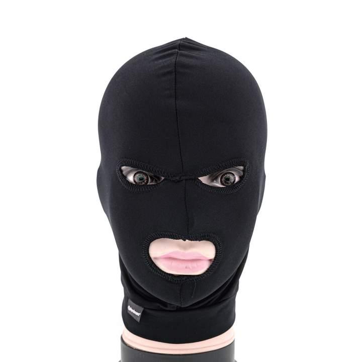 Czarna maska na twarz z otworem na oczy i usta dla niej i dla niego