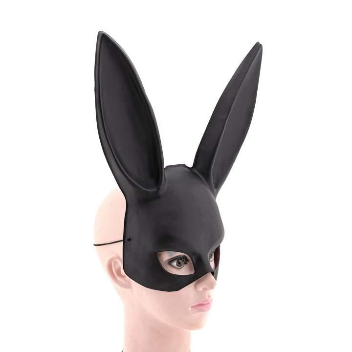 Czarna maska na twarz króliczka