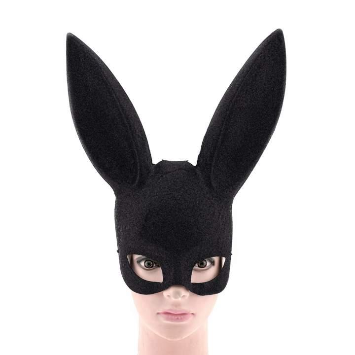 Czarna brokatowa maska króliczka z długimi uszami