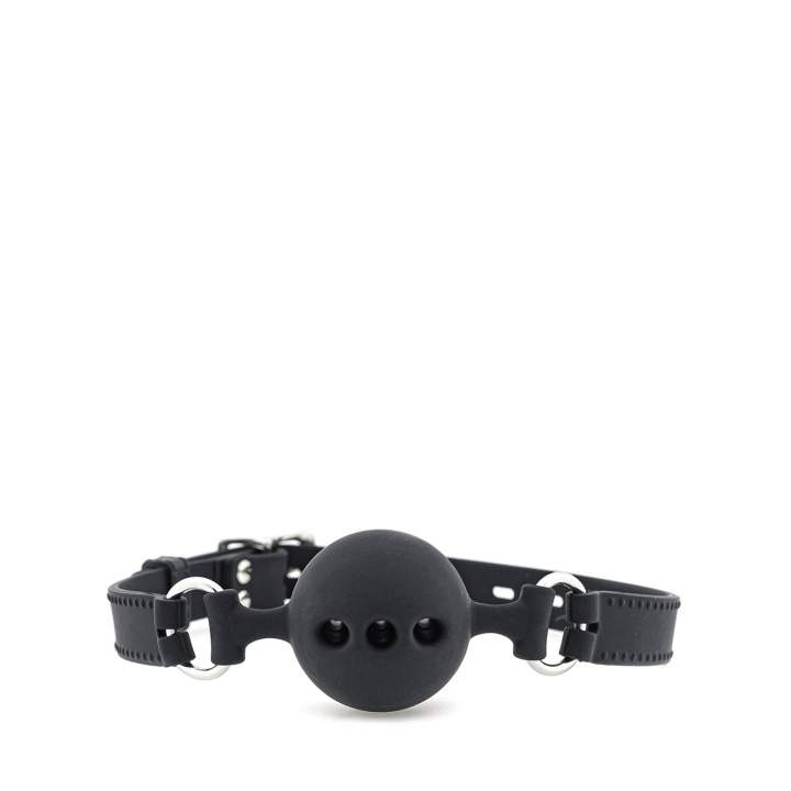 Czarny silikonowy knebel z kulką rozmiar M