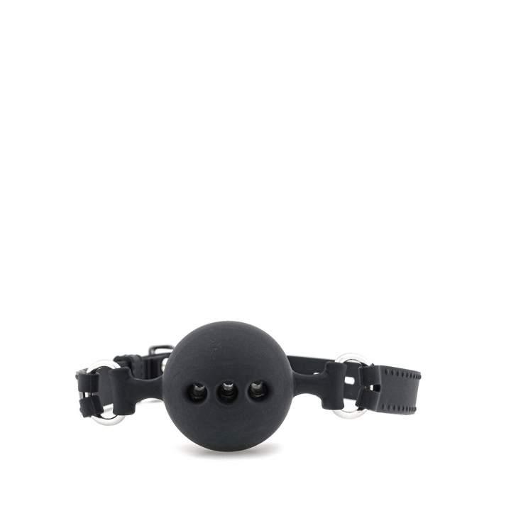 Czarny silikonowy knebel z kulką rozmiar L