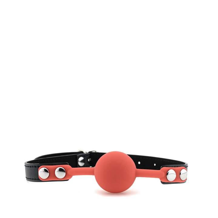 Czerwony silikonowy knebel z regulacją – 4 cm