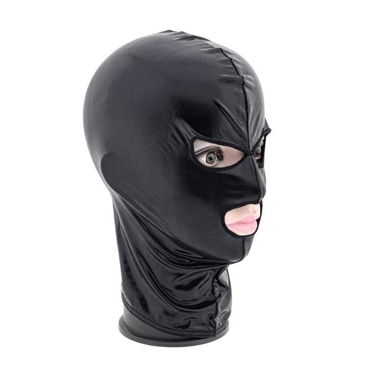 Czarna błyszcząca maska BDSM z otworami na oczy i usta