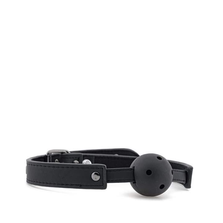 Czarny metalowy knebel z otworami powietrznymi – 4,5 cm