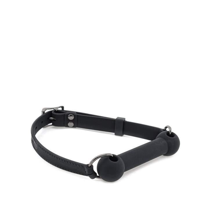 Czarny silikonowy knebel do zabawy Pony Play  – 1,7 cm
