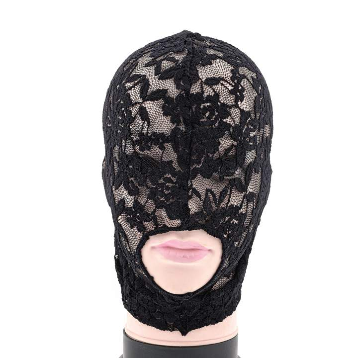 Seksowna koronkowa maska na twarz z wycięciem na ustach