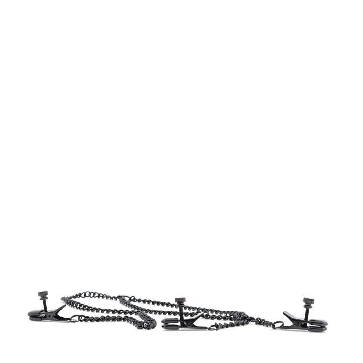 Zestaw czarnych metalowych zacisków na sutki i łechtaczkę
