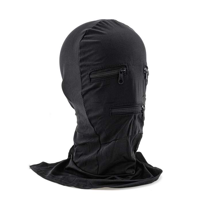 Czarna materiałowa maska na twarz z zamkami na oczach i ustach