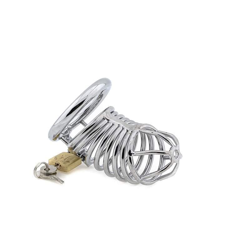 Metalowa klatka na penisa z kłódką - 4,5 cm