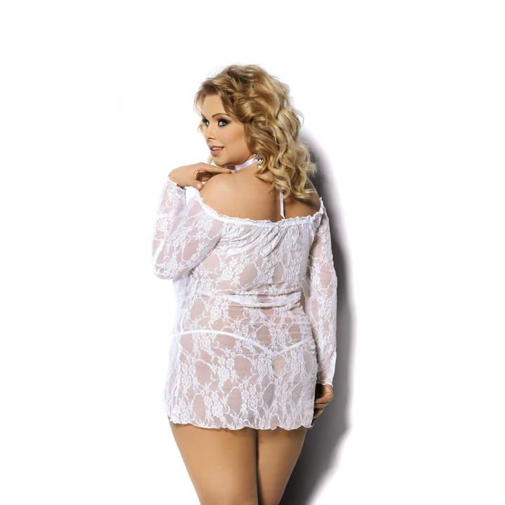 Seksowna, przezroczysta haleczka z kwiatową koronką – Angels Never Sin Cobayo