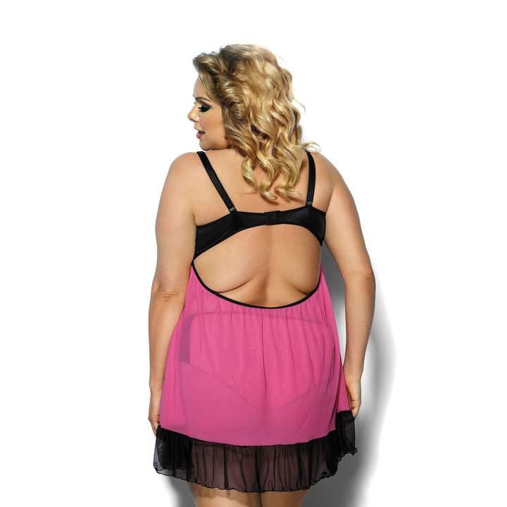 Różowo-czarna halka o zwiewnym fasonie dla kobiet w rozmiarze Plus Size – Angels Never Sin Carinola