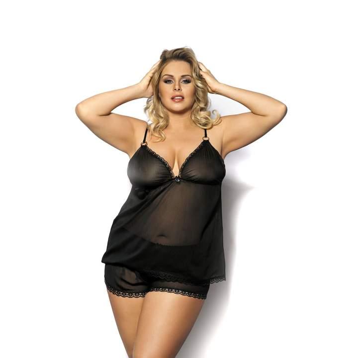 Seksowny komplet w postaci czarnej, nocnej koszulki i szortów dla kobiet – Anais Fendia