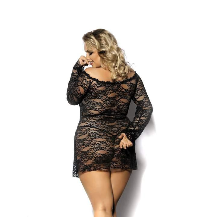 Koronkowa, czarna koszula nocna z długim rękawem dla kobiet + stringi – Anais Orangina