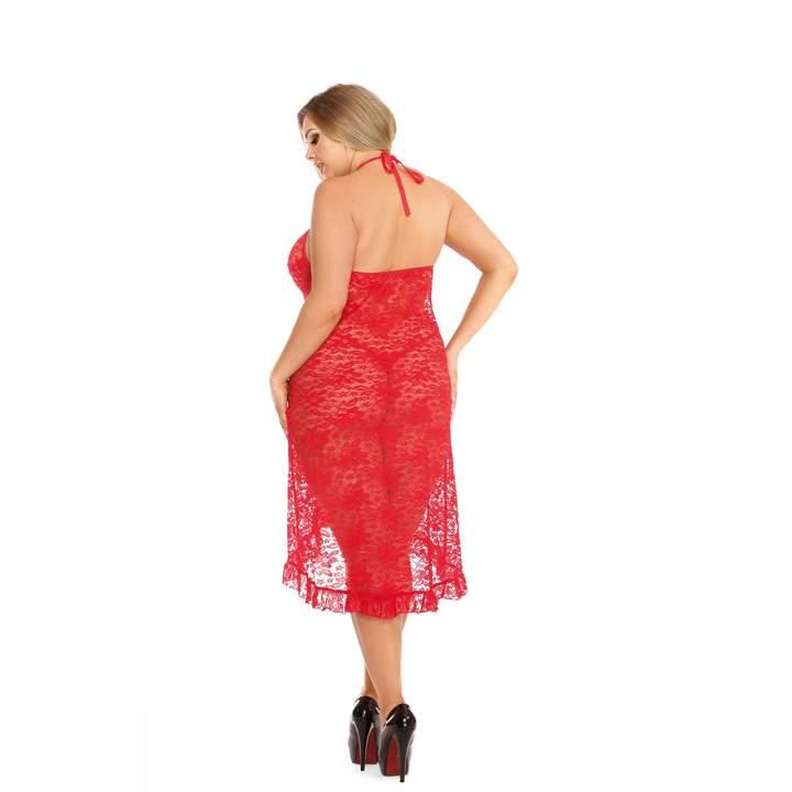 Czerwona zmysłowa koszula nocna dla kobiet + stringi – Anais Dion