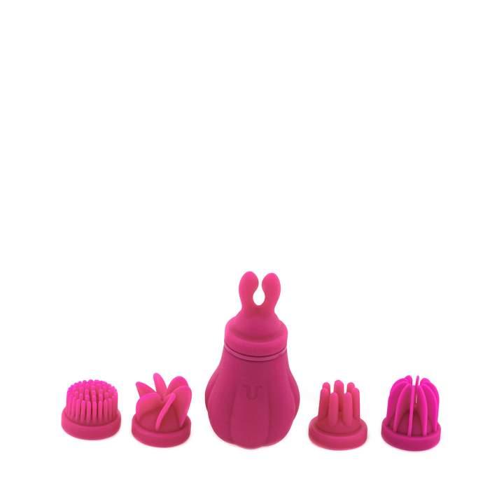Różowy masażer łechtaczki ze zmiennymi głowicami