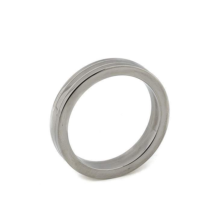 Stalowy żłobiony pierścień erekcyjny na penisa i jądra – 4,5 cm