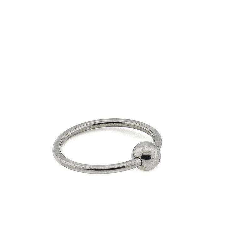 Stalowy pierścień erekcyjny z kulką do noszenia na żołędziu – 3,2 cm