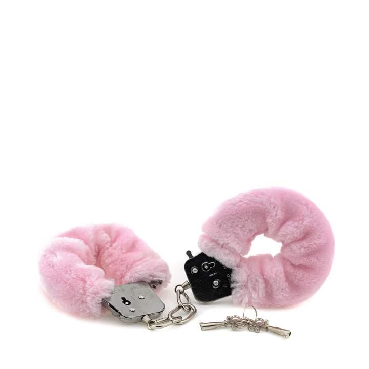 Różowe kajdanki ze sztucznym futerkiem i wajchą do otwierania