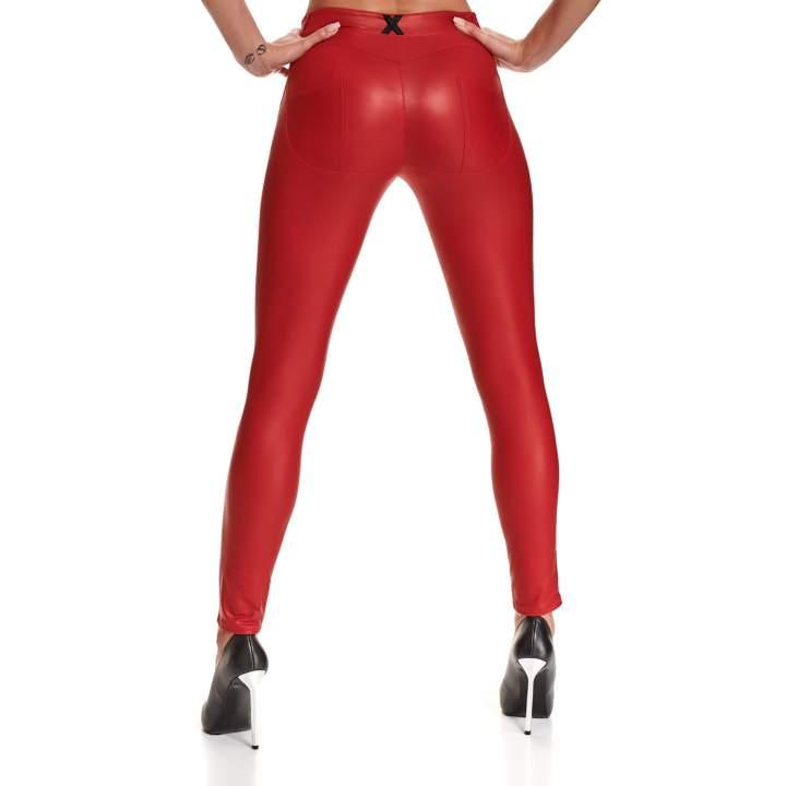 """Czerwone, elastyczne legginsy z czarnym znaczkiem """"X"""" z tyłu – Demoniq Lidia"""